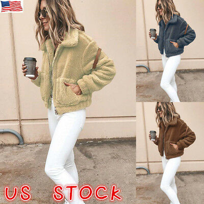 US Womens Winter Fluffy Fleece Warm Cardigans Coat Casual Fur Jacket Outwear Zip