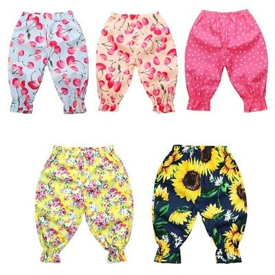 Kids Baby Girl Summer Leggings Anti-mosquito Flower Printed Harem Pants Trousers