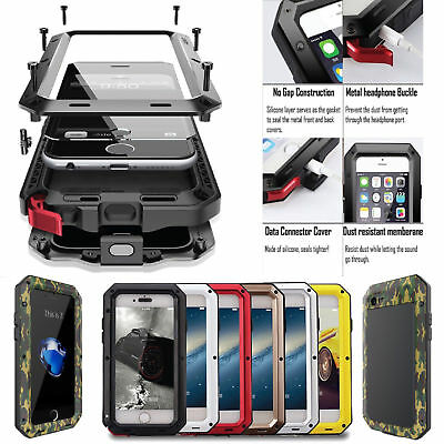 For iPhone 6 6S 7 & Plus 5 5S SE Shockproof Aluminum Glass Metal Full Case Cover