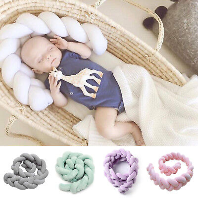 1/2/3M Baby Infant Plush Crib Bumper Bed Bedding Braid Pillow Pad Protector AU