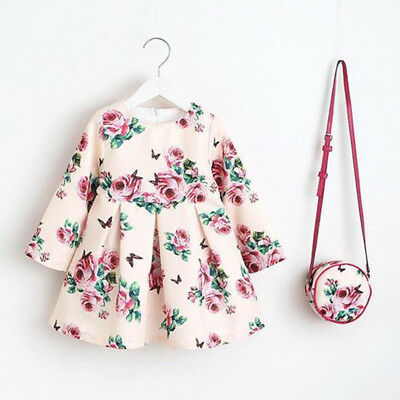 Baby Flower Girl Kid Long Sleeve Floral Rose Print Princess Party Dress Clothes