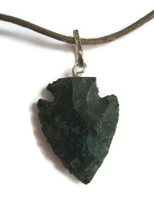 Moss Agate Arrowhead Rough Pendant Necklace Gemstone Crystal Protection