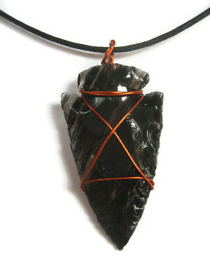 Copper Wrapped Black Obsidian Arrowhead Pendant Necklace Gemstone Crystal