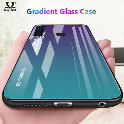 For Samsung Galaxy A9 A7 2018 J6 Case Luxury Gradient Tempered Glass Back Cover
