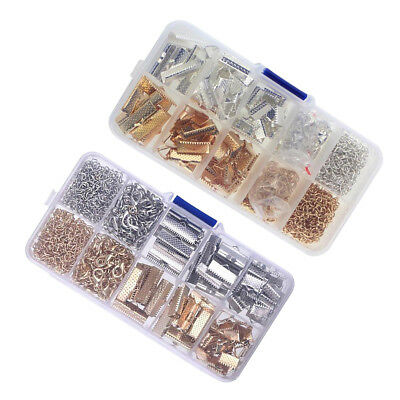 DIY Crimp Tips Clip Beads Jump Rings Cord Clamp Ends Over Cap Lobster Clasp