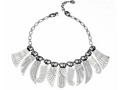 AZZA FAHMY Silver Winged Necklace, Pharaonic Collection NEW w/Box CNS1200100012X