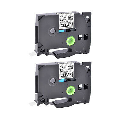 2PK TZ-131 12mm Black on Clear Label Tape TZe-131 For Brother P-touch PT-2030