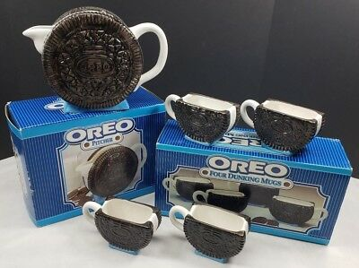 NABISCO Vintage Oreo Cookie Collection Coffee Milk Mugs (Set of 4) & Pitcher