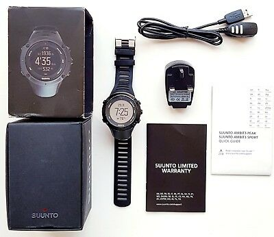 Boxed Suunto Ambit 3 Peak Black HR  GPS Multi sport Functions Sports Smart Watch