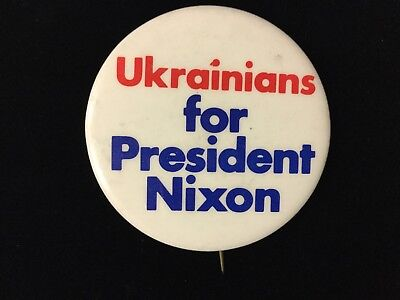 Ukrainians For President Nixon 2 1/4 Inch Button Box 2