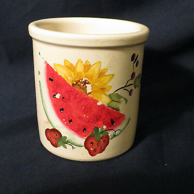 Vintage R.R.P. Co. Roseville Hand Painted Crock Watermelon & Strawberry Kitchen