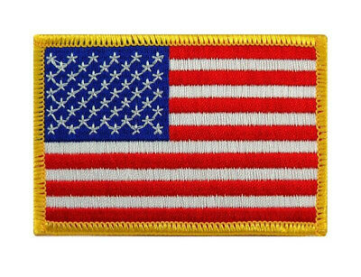 Flag American Iron Patch on Embroidered Gold USA Border United States Finishes #