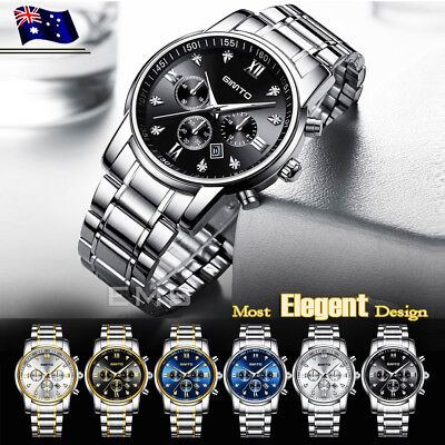 GIMTO Men's Luxury Watches Date Stainless Steel Waterproof Quartz Wrist Watch