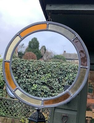 Round Hanging Stained Glass Mirror
