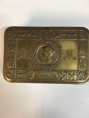 Wwi British Brass Soldier Gift Boxes Tins Xmas 1914 Princess Mary To Allies