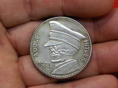 1935 - 5 Reichsmark German Fuhrer Skull Death Head Wwii Hobo Collectible Coin