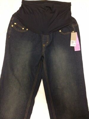 Times Two Maternity Over Belly Skinny Jeans Sz Large Dark Wash Stretch