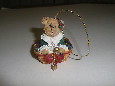 "BOYD'S BEARS, LONGABERGER EXCLUSIVE Ornament, ""BEAR IN GARLAND BASKET"" Pre-Owned"