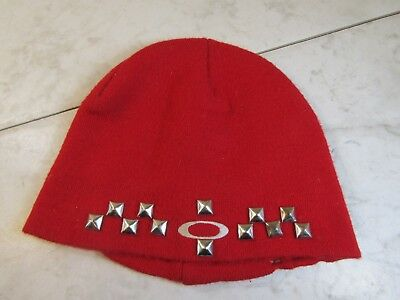 6c13f27ce63 Oakley Red Acrylic Knit Beanie With Studs Winter Hat One Size Adult