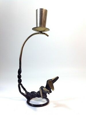 Vintage Dachshund Brass Candle Holder