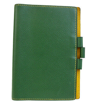 Authentic HERMES Logos Mini Agenda Day Planner Leather Green France 07BC357