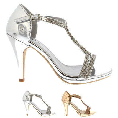 cdc275a4bf4 Womens Diamante T-Bar Mid Heel Wedding Party Metallic Sandals Shoes UK 3-8