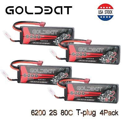GOLDBAT 6200mAh 80C 7.4V 2S LiPo Battery 4 Pack Deans Plug for RC Car Truck Boat