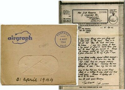 CYPRUS MEF WW2 AIRGRAPH 1944 ROBERTS + CENSOR POST PAID in BLUE