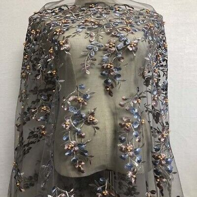 """1 Yard Flowers with Beaded Embroidered Gray Tulle Mesh Lace Fabric 51"""" Width"""