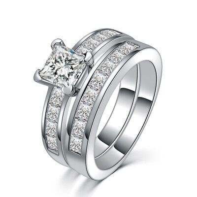 US 3.75 Ct Princess Cut AAA CZ Stainless Steel Wedding Ring Size 6-10 Fashion 2X