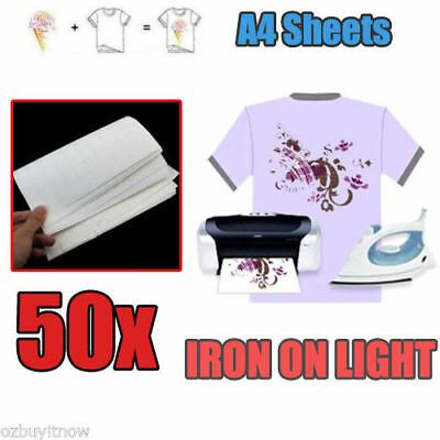 50 Sheets A4 Iron Heat Transfer Paper For The Light Polyester Fabrics T-shirt AU