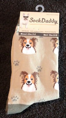 Papillon Dog Breed Lightweight Stretch Cotton Adult Socks