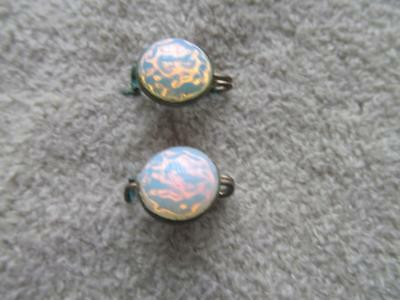 Vintage Antique pair of Opal Type Round tiny brass Scatter Pins #107-2