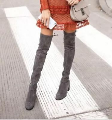 478eb5d403f Stuart Weitzman NEW Tieland Slate Gray Over-the-Knee OTK Suede Boots size