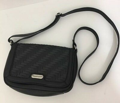 Longaberger Black Woven Leather Stairstep Crossbody Purse NWOT