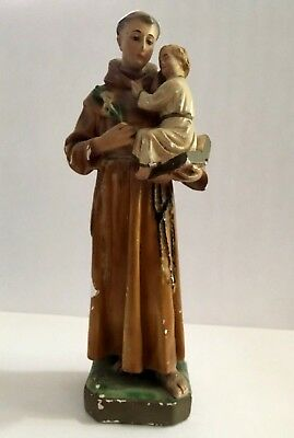 "Vintage 12"" St. Anthony and Baby Jesus Chalkware Statue"
