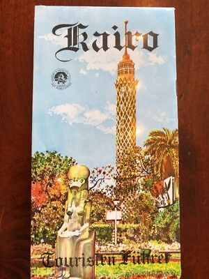 Cairo Kairo Egypt Vintage 1950's Tourist Map City Plan Map With Information Book