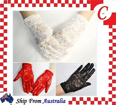 Ladies Fashion Party Costume Wedding Floral Lace Gloves Lingerie Wrist Flapper