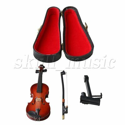 10cm Mini Violin Miniature Musical Instrument Model with Support and Case