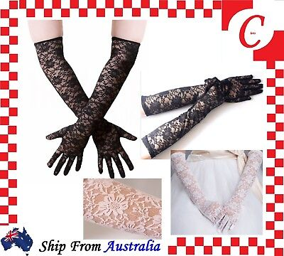 LONG Ladies Fashion Party Costume Wedding Floral Lace Gloves Lingerie Vintage
