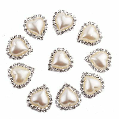 50PCS 21mm x 23mm Heart White Faux Pearl Button Flatback
