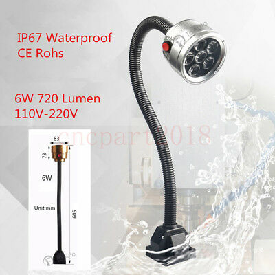 110-220V Flexible CNC LED Lamp Fixed Base Working Tool Light Arm Waterproof 6W