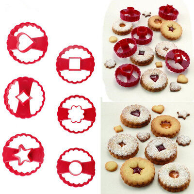 6PCS Multifunctional Linzer Cookie Cutter Cake Decor Tool Fondant Biscuit Mold N