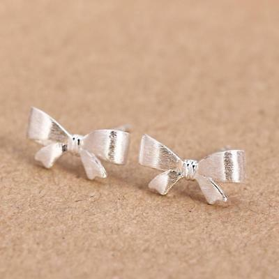 Exquisite Lovely Girls Rhinestone Crystal Sterling Silver Bow Earrings Ear Stud