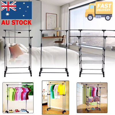 Clothes Rack Metal Garment Display Rolling Portable Rail Hanger Dryer Stand AU