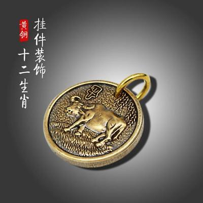 12 Feng Shui Chinese Zodiac Key Chain Pure Copper Lucky Coins Amulet Pendant