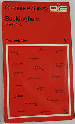1968 old vintage OS Ordnance Survey seventh series one-inch Map 146 Buckingham
