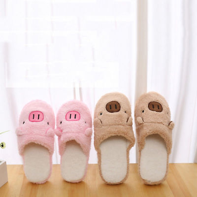 Men Women Couple Winter Indoor House Pig Slippers Anti-slip Gift Home Warm Shoes