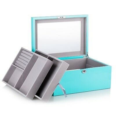 Extra Large Wooden Jewellery Boxes Ring Storage Display Case Lock Organiser Gift