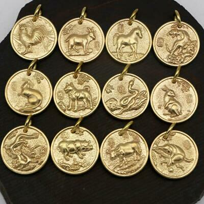 Feng Shui Chinese Zodiac Key Chain Pure Copper Lucky Coins Amulet Pendant